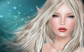Обои девушка, эльф, портрет, блондинка, уши