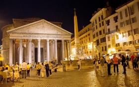 Обои огни, люди, вечер, площадь, Рим, Италия, колонны