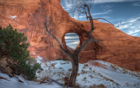 Картинка Arizona, Snow, Monument Valley, Arch, Earwind