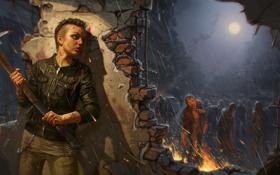 Обои девушка, дождь, зомби, кирка, Infestation: Survivor Stories, The War Z