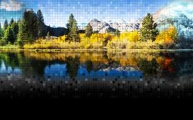 Картинка зима, осень, лето, природа, озеро, сезоны, смешивание