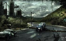 Обои Radioactive, город, машины, вертолет, дорога