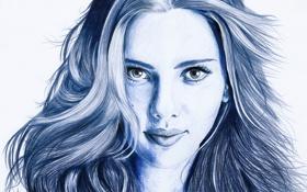 Обои взгляд, лицо, волосы, портрет, актриса, Scarlett Johansson, карандаш