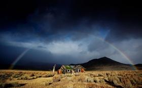 Картинка горы, дом, радуга, долина