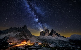 Обои природа, горы, ночь, дом