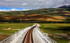 Картинка небо, фон, железная дорога