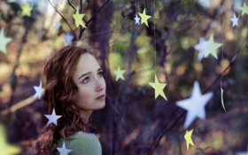 Обои настроение, звёзды, девочка