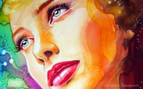 Обои взгляд, девушка, лицо, краски, портрет, макияж, крупным планом
