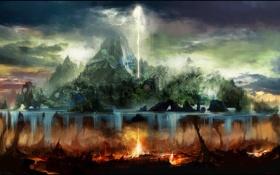 Картинка вода, тучи, огонь, остров, арт