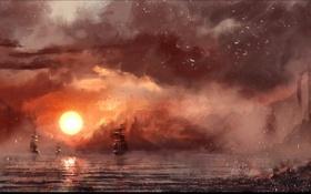 Картинка море, солнце, корабли, арт, нарисованный пейзаж