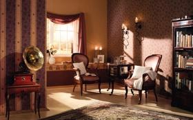 Обои стиль, комната, интерьер, кресло, люстра