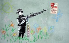 Картинка оружие, стена, рисунок, мальчик