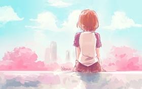 Обои небо, девушка, облака, деревья, город, спина, дома