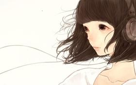 Картинка Девушка, наушники, слезы