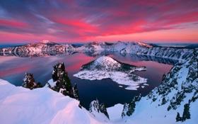 Картинка небо, облака, снег, закат, горы, озеро, остров