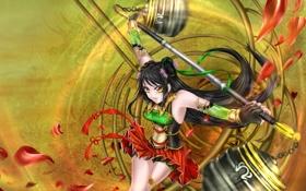 Обои девушка, лепестки, Guan Yinping: Lethal Dance