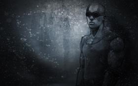 Обои темный фон, мужик, очки, Вин Дизель, Vin Diesel, Riddick, Риддик
