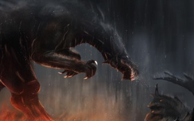 Обои когти, лава, арт. фантастика. дракон, взгляд. зубы