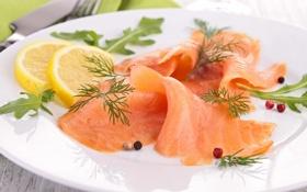 Обои зелень, лимон, рыба, lemon, ломтики, fish, лосось