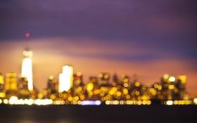 Картинка облака, ночь, огни, Нью-Йорк, горизонт, боке, One World Trade Center