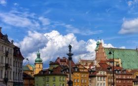 Картинка крыша, небо, облака, краски, дома, Польша, Варшава