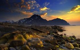 Картинка море, небо, горы, камни, скалы, весна