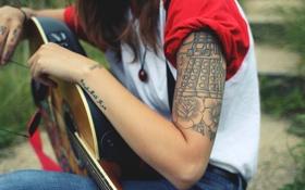 Обои девушка, роза, рука, тату, татуировка
