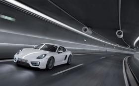 Обои белый, Авто, Porsche, Cayman, Тоннель, Передок