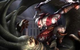 Картинка Игра, воин, арт, клинки, God of War