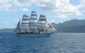 Картинка море, вода, горы, фото, корабль, парусник, Sea Cloud