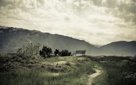 Картинка небо, пейзаж, горы, скамья