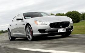 Картинка авто, свет, фары, Maserati, скорость, седан, Quattroporte S