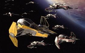 Обои космос, истребители, star wars, R2-D2