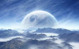 Обои планета, кратеры, туман