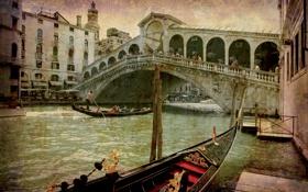 Обои city, город, Италия, Венеция, канал, vintage, Italy
