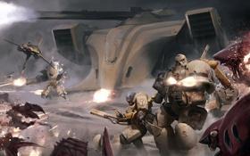 Картинка металл, оружие, корабль, арт, монстры, солдаты, битва