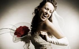 Обои эмоции, настроение, букет, невеста, свадьба