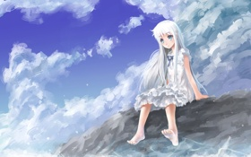 Обои море, лето, настроение, волна, аниме, девочка, Ano Hi Mita Hana no Namae o Bokutachi wa ...