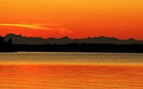Картинка небо, деревья, закат, горы, озеро, силуэт