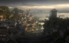Картинка горы, город, дома, корабли, бухта, краны