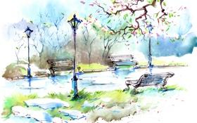 Обои листья, деревья, парк, улица, фонари, дорожка, живопись