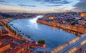 Обои мост, река, здания, корабли, вечер, Португалия, Лиссабон