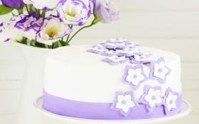 Обои цветы, cake, flowers, выпечка, тортик, pastries, сахарные цветочки