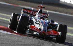 Обои 2007, поворот, mclaren, mp4-22, formula 1, formula one, поребрик