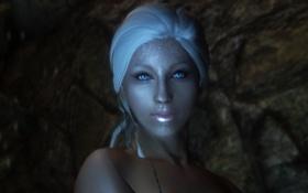 Обои взгляд, девушка, лицо, узоры, белые волосы, скайрим, Skyrim