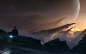 Обои холод, снег, скалы, человек, планета, арт, фонарик