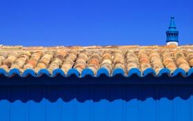 Обои крыша, небо, дом, башня, черепица