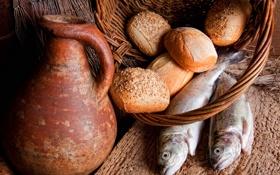 Обои стол, корзина, рыба, кувшин, булочки