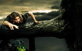 Обои природа, обрыв, дерево, птица, мужчина, ворон, фантатстика