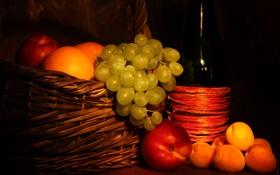Обои бутылка, виноград, фрукты, персики, абрикосы
